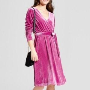 Mossimo Ribbed Velvet Faux Wrap Dress